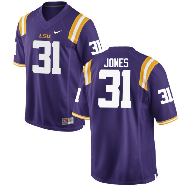 Men LSU Tigers #31 Justin Jones College Football Jerseys Game-Purple