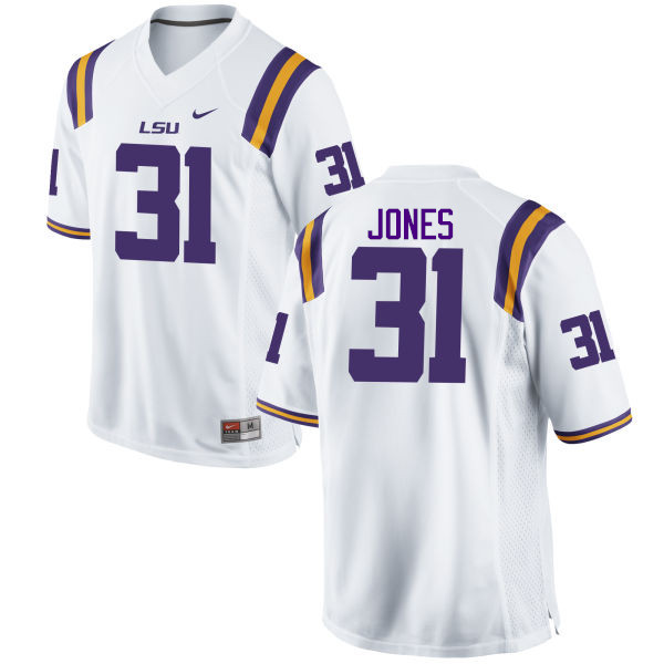 Men LSU Tigers #31 Justin Jones College Football Jerseys Game-White