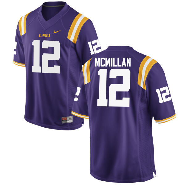 Men LSU Tigers #12 Justin McMillan College Football Jerseys Game-Purple