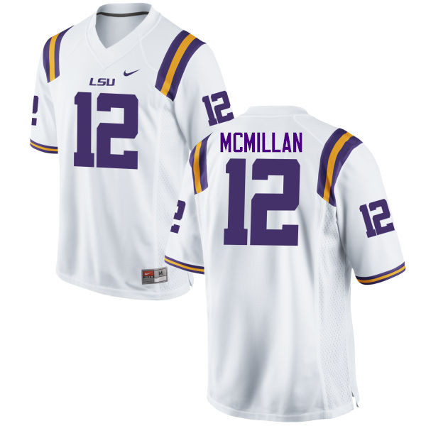 Men LSU Tigers #12 Justin McMillan College Football Jerseys Game-White