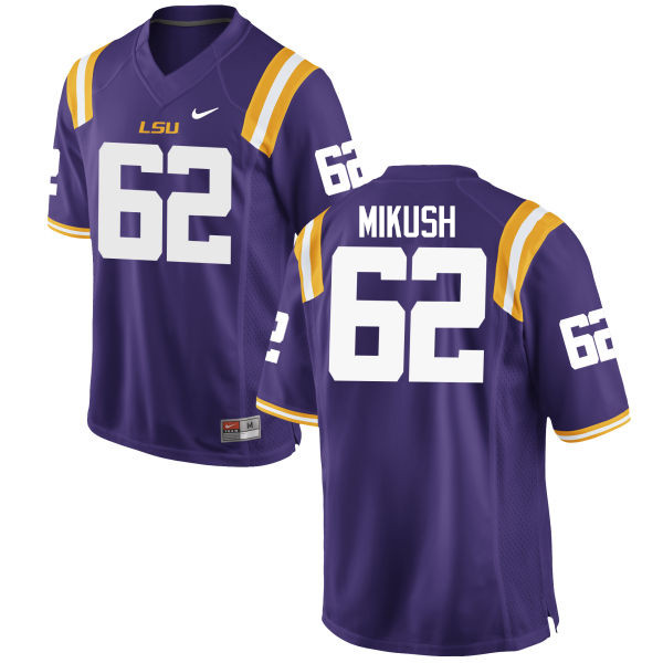 Men LSU Tigers #62 Justin Mikush College Football Jerseys Game-Purple