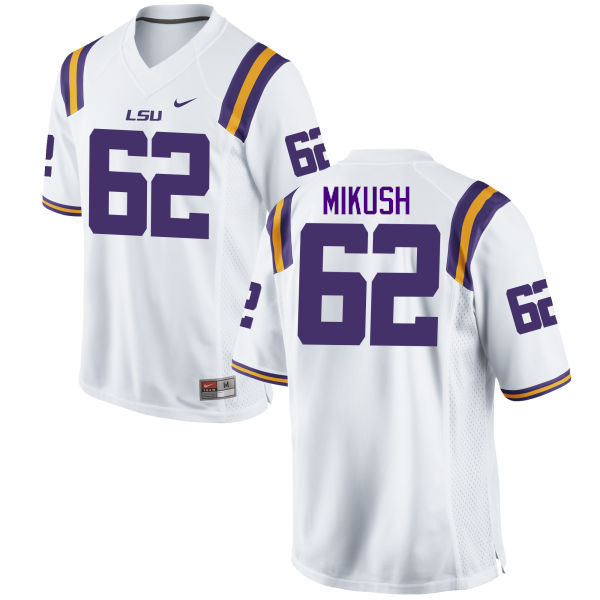 Men LSU Tigers #62 Justin Mikush College Football Jerseys Game-White