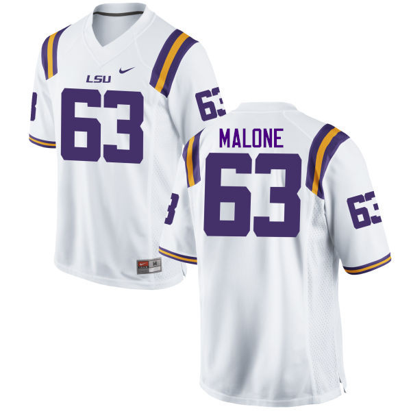 Men LSU Tigers #63 K.J. Malone College Football Jerseys Game-White