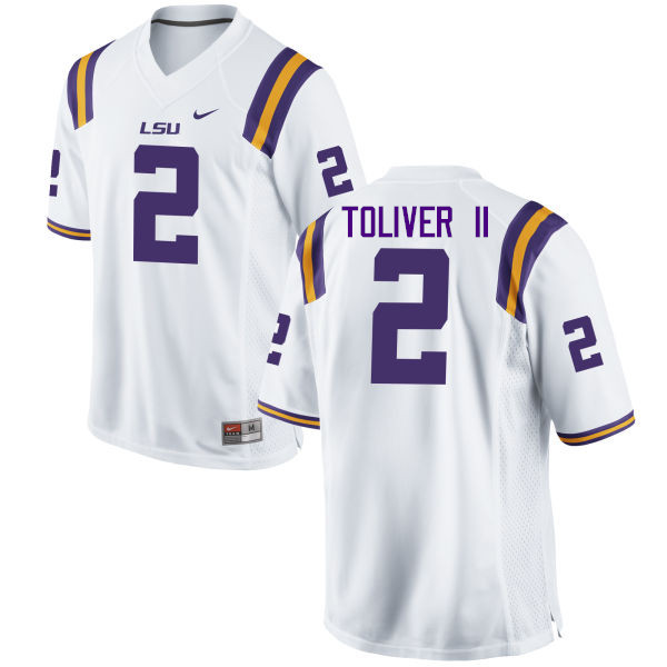 Men LSU Tigers #2 Kevin Toliver II College Football Jerseys Game-White