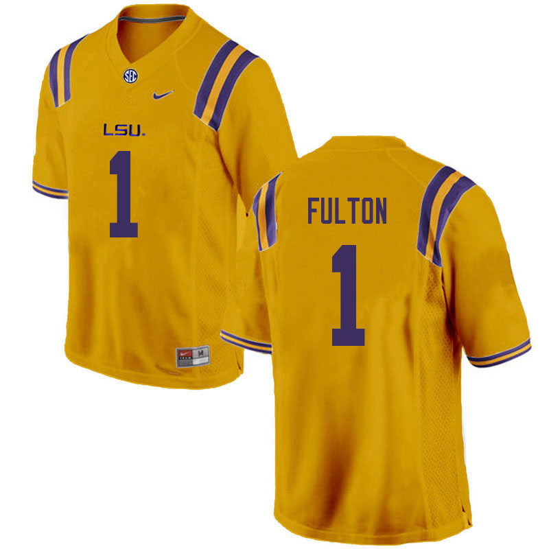 Men #1 Kristian Fulton LSU Tigers College Football Jerseys Sale-Gold