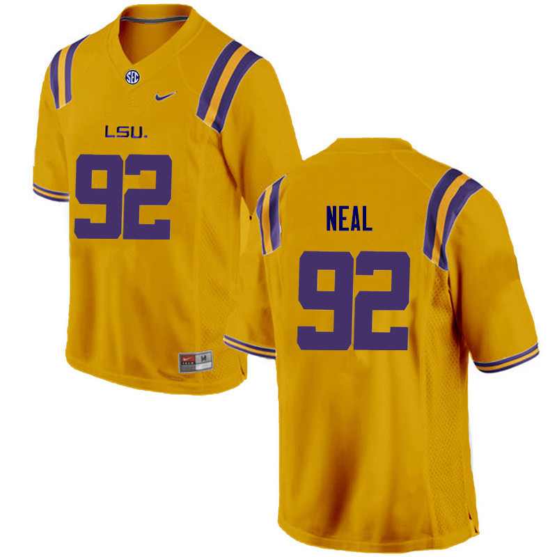 Men LSU Tigers #92 Lewis Neal College Football Jerseys Game-Gold