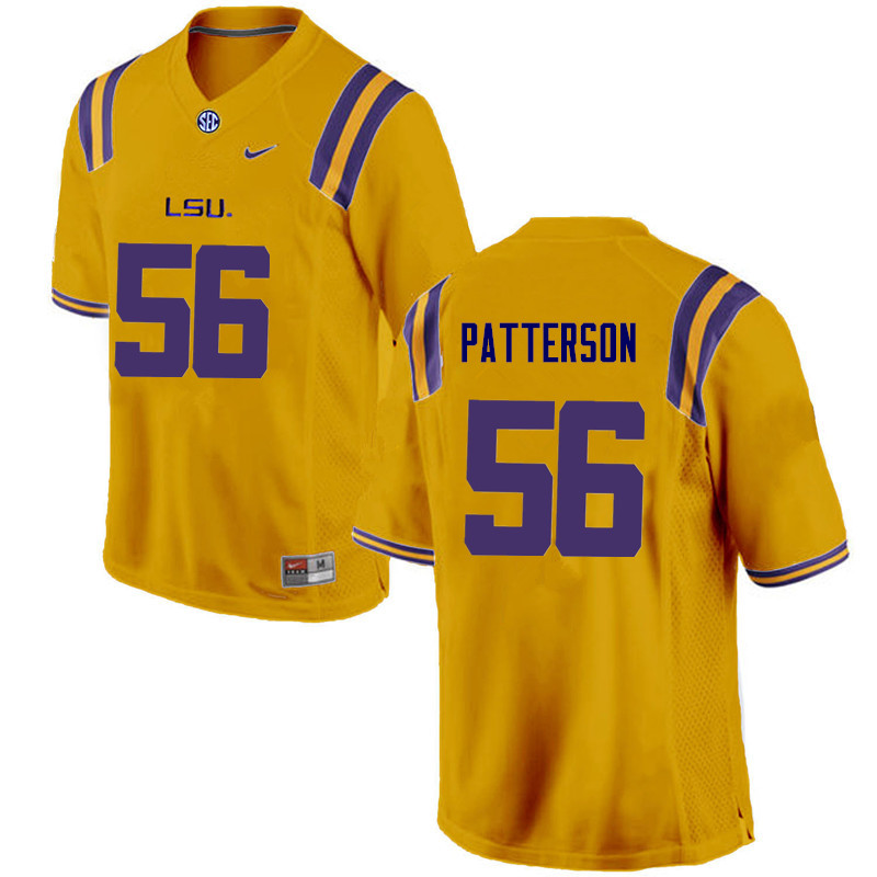 Men LSU Tigers #56 M.J. Patterson College Football Jerseys Game-Gold