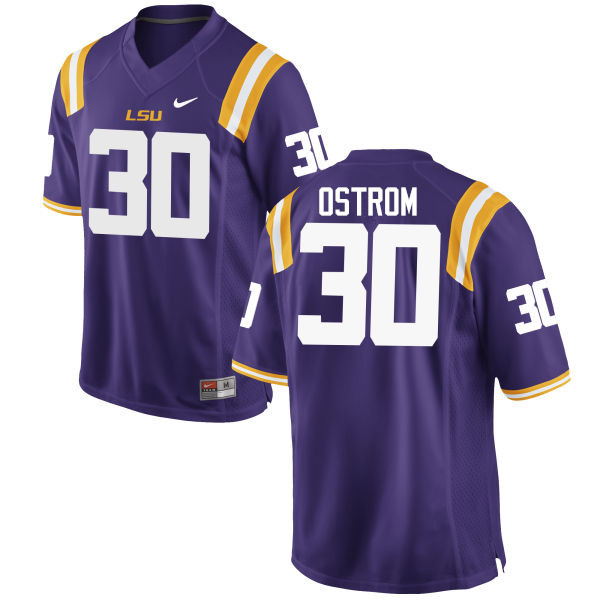 Men LSU Tigers #30 Michael Ostrom College Football Jerseys Game-Purple