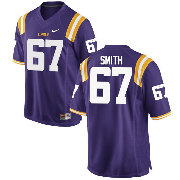 Men LSU Tigers #67 Michael Smith College Football Jerseys Game-Purple