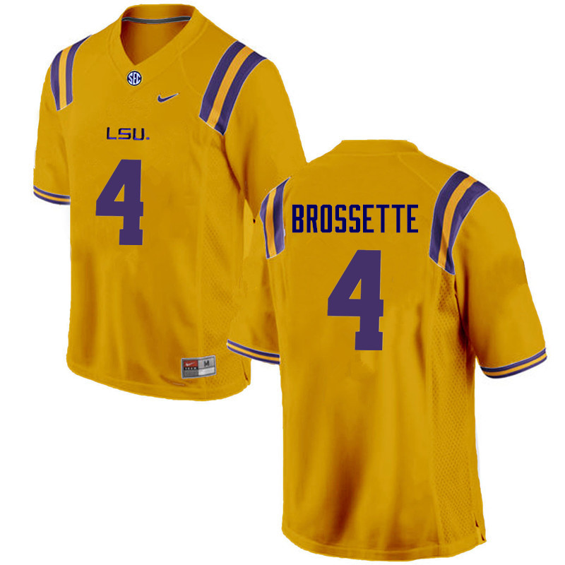 Men LSU Tigers #4 Nick Brossette College Football Jerseys Game-Gold