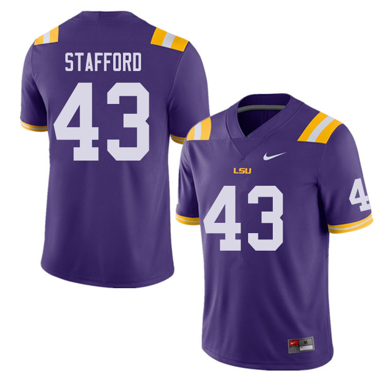 Men #43 Preston Stafford LSU Tigers College Football Jerseys Sale-Purple