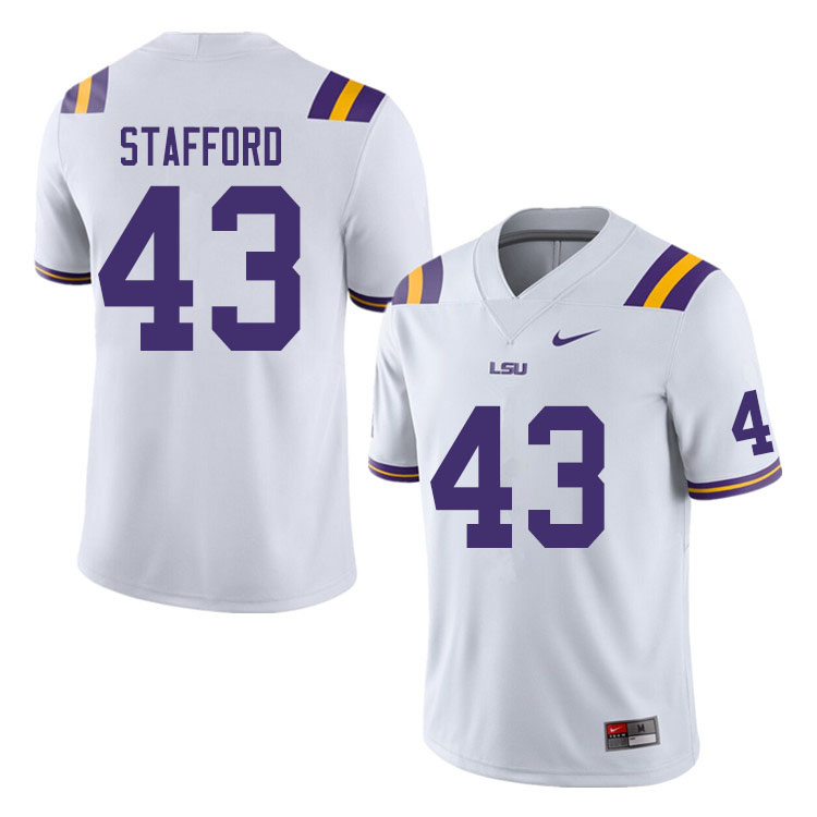Men #43 Preston Stafford LSU Tigers College Football Jerseys Sale-White