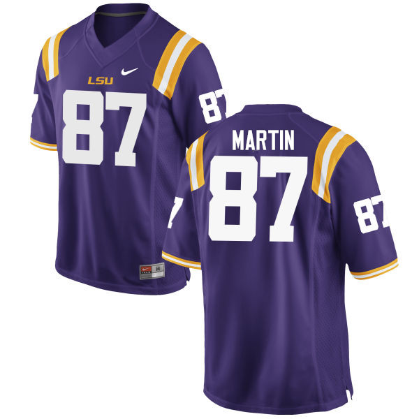 Men LSU Tigers #87 Sci Martin College Football Jerseys Game-Purple