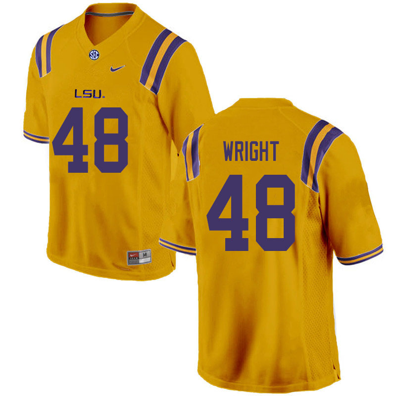 Men #48 Sloan Wright LSU Tigers College Football Jerseys Sale-Gold