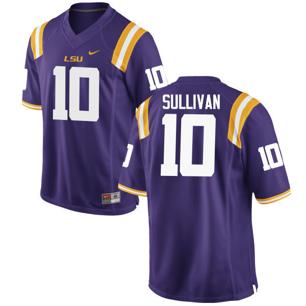 Men LSU Tigers #10 Stephen Sullivan College Football Jerseys Game-Purple