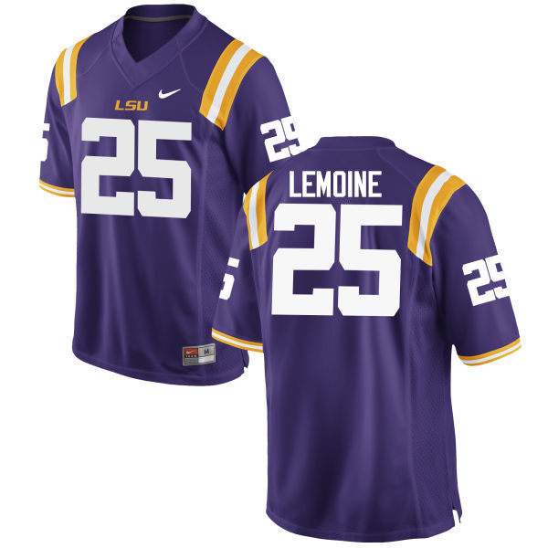 Men LSU Tigers #25 T.J. Lemoine College Football Jerseys Game-Purple