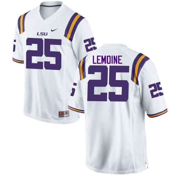 Men LSU Tigers #25 T.J. Lemoine College Football Jerseys Game-White