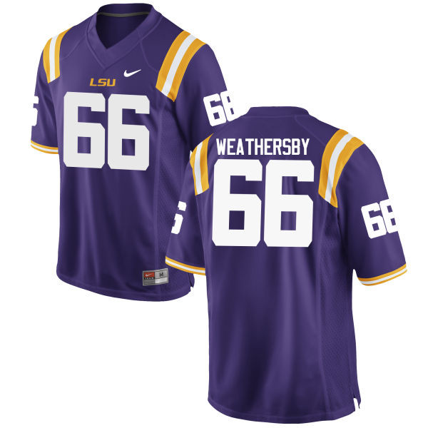 Men LSU Tigers #66 Toby Weathersby College Football Jerseys Game-Purple