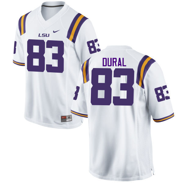 Men LSU Tigers #83 Travin Dural College Football Jerseys Game-White