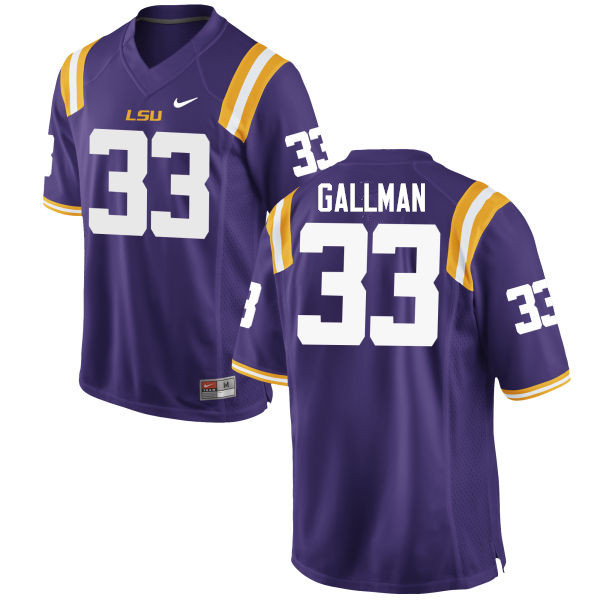 Men LSU Tigers #33 Trey Gallman College Football Jerseys Game-Purple