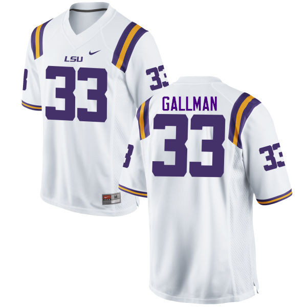 Men LSU Tigers #33 Trey Gallman College Football Jerseys Game-White