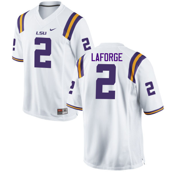 Men LSU Tigers #2 Trey LaForge College Football Jerseys Game-White