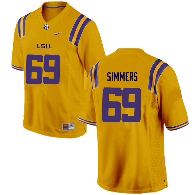 Men LSU Tigers #69 Turner Simmers College Football Jerseys Game-Gold