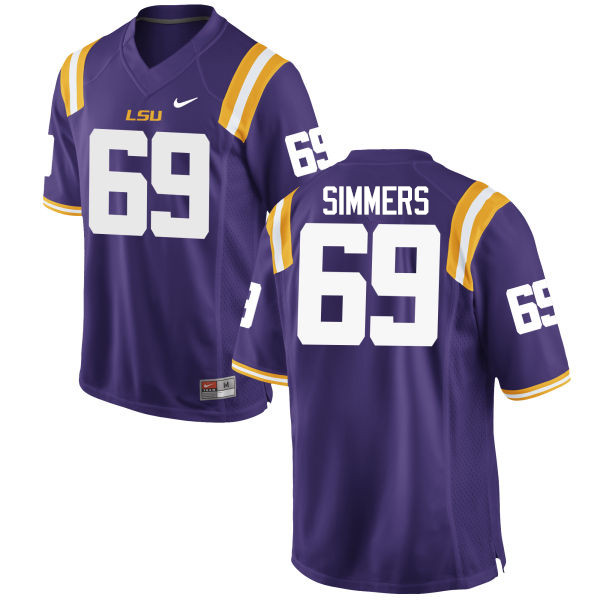 Men LSU Tigers #69 Turner Simmers College Football Jerseys Game-Purple