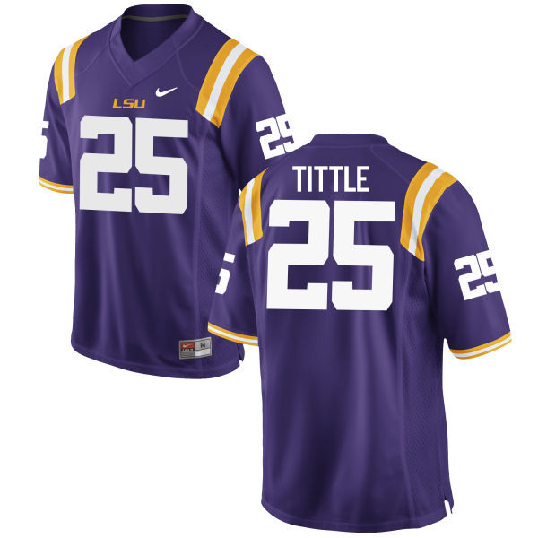 Men LSU Tigers #25 Y. A. Tittle College Football Jerseys Game-Purple