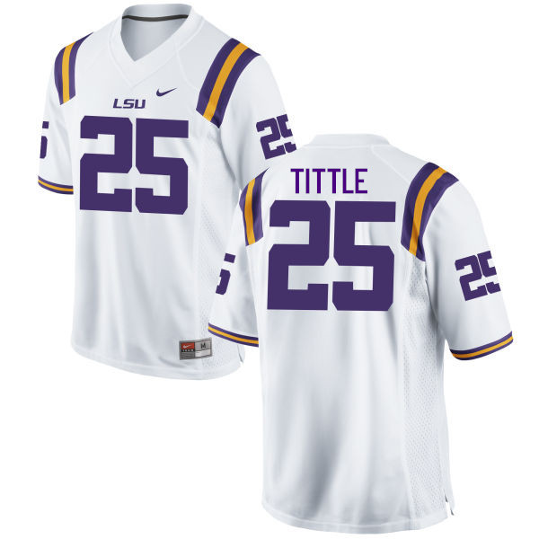 Men LSU Tigers #25 Y. A. Tittle College Football Jerseys Game-White