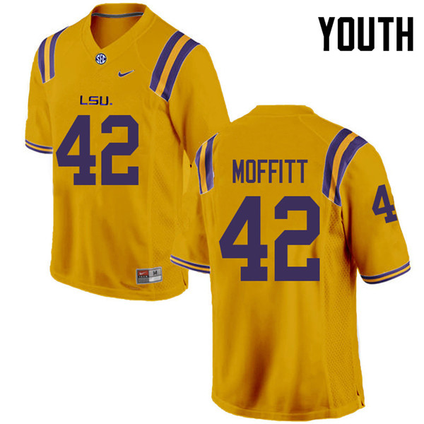 Youth #42 Aaron Moffitt LSU Tigers College Football Jerseys Sale-Gold