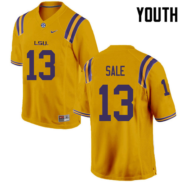 Youth #13 Andre Sale LSU Tigers College Football Jerseys Sale-Gold