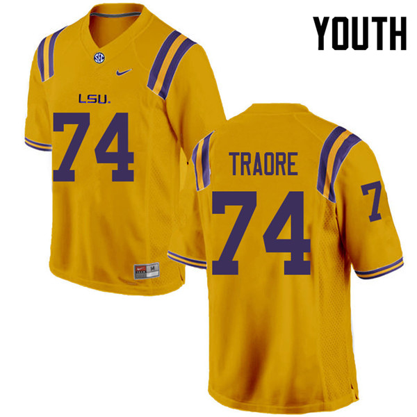 Youth #74 Badara Traore LSU Tigers College Football Jerseys Sale-Gold