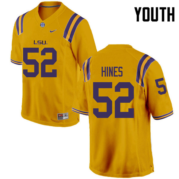 Youth #52 Chasen Hines LSU Tigers College Football Jerseys Sale-Gold