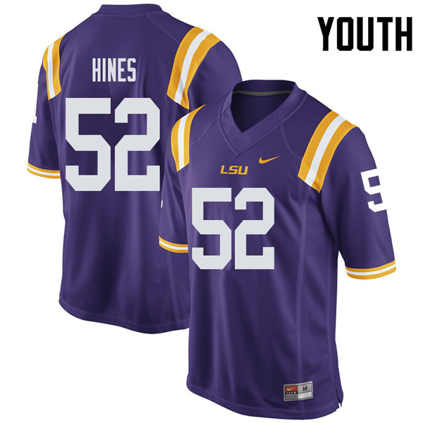 Youth #52 Chasen Hines LSU Tigers College Football Jerseys Sale-Purple