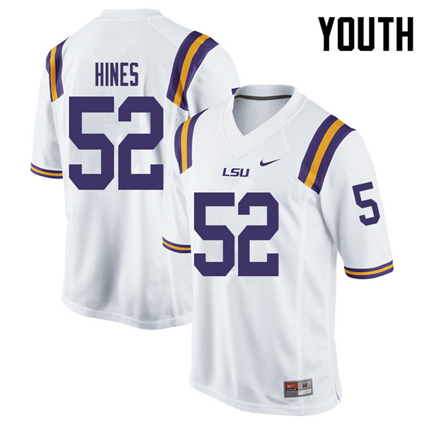 Youth #52 Chasen Hines LSU Tigers College Football Jerseys Sale-White