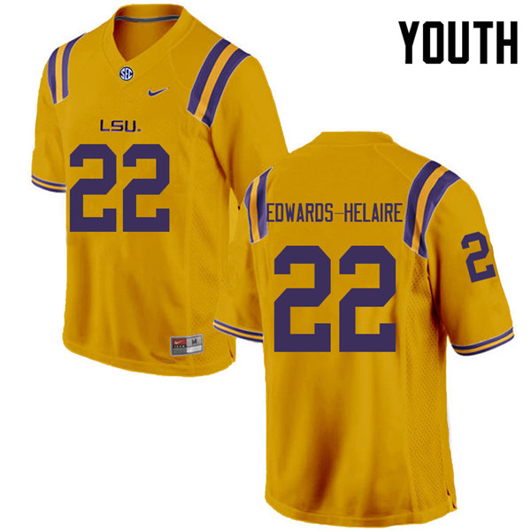Youth #22 Clyde Edwards-Helaire LSU Tigers College Football Jerseys Sale-Gold