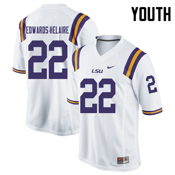 Youth #22 Clyde Edwards-Helaire LSU Tigers College Football Jerseys Sale-White