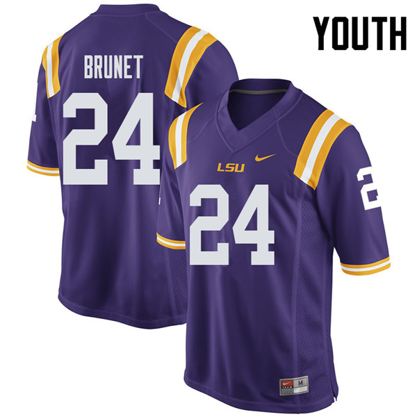 Youth #24 Colby Brunet LSU Tigers College Football Jerseys Sale-Purple