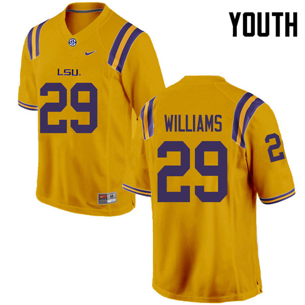 Youth #29 Greedy Williams LSU Tigers College Football Jerseys Sale-Gold