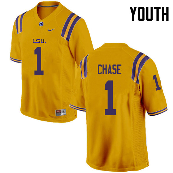 Youth #1 Ja'Marr Chase LSU Tigers College Football Jerseys Sale-Gold