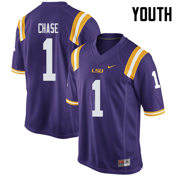 Youth #1 Ja'Marr Chase LSU Tigers College Football Jerseys Sale-Purple