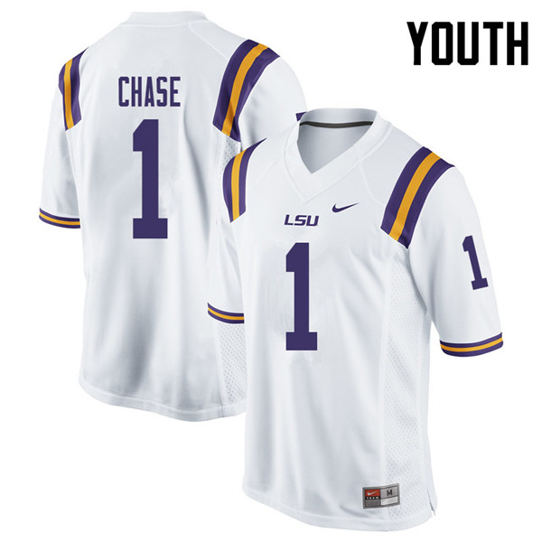 Youth #1 Ja'Marr Chase LSU Tigers College Football Jerseys Sale-White