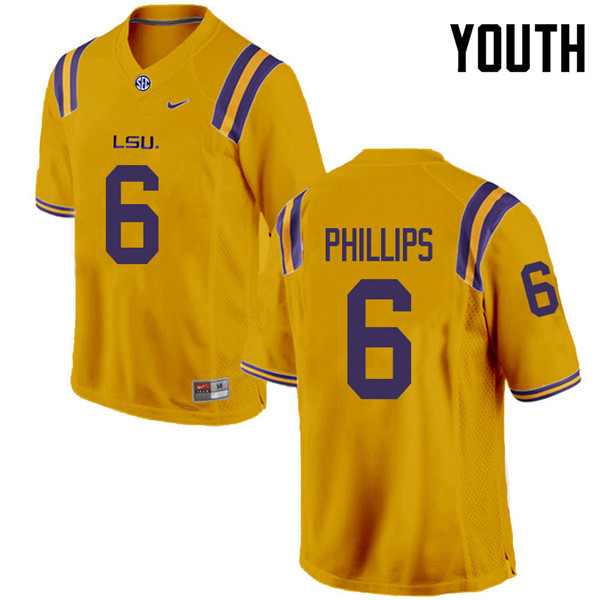 Youth #6 Jacob Phillips LSU Tigers College Football Jerseys Sale-Gold