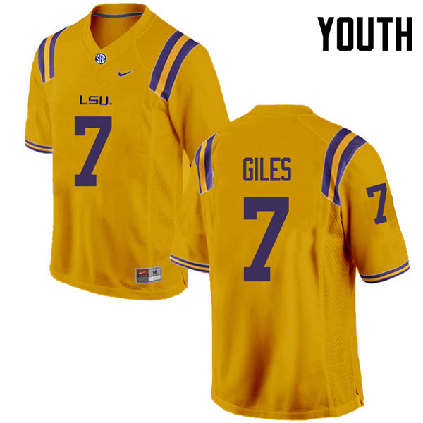 Youth #7 Jonathan Giles LSU Tigers College Football Jerseys Sale-Gold