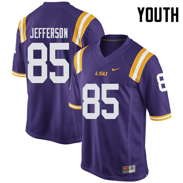 Youth #85 Justin Jefferson LSU Tigers College Football Jerseys Sale-Purple
