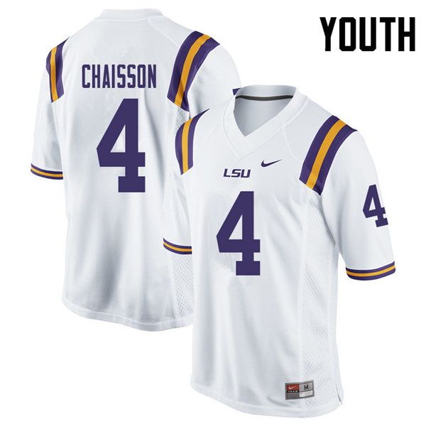 Youth #4 K'Lavon Chaisson LSU Tigers College Football Jerseys Sale-White