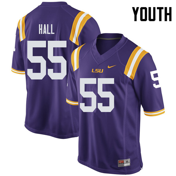 Youth #55 Kody Hall LSU Tigers College Football Jerseys Sale-Purple