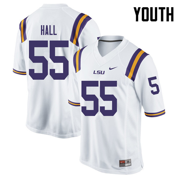 Youth #55 Kody Hall LSU Tigers College Football Jerseys Sale-White