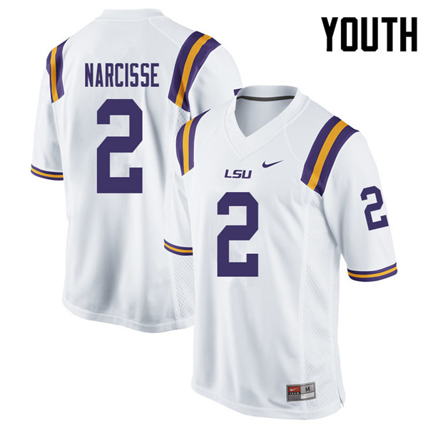 Youth #2 Lowell Narcisse LSU Tigers College Football Jerseys Sale-White